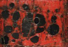 Alberto Burri: Rosso Plastica M3, 1961, Plastica, combustione su tela, cm 121,5x182,5 (127,5x188,5x5,5). Fondazione Palazzo Albizzini Collezione Burri