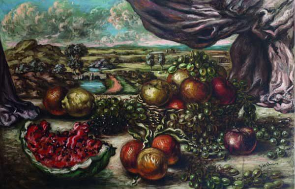 Giorgio de Chirico, Frutta con sfondo di paese, 1956