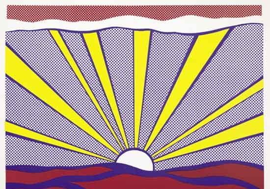 Roy Lichtenstein, Sunrise, 1965 Offset lithography on light weight white paper, 46.5 x 61.8 cm Private collection, Courtesy Sonnabend Gallery, New York © Estate of Roy Lichtenstein