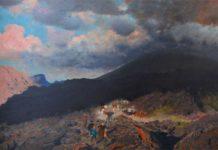 Giuseppe De Nittis, L'eruzione del Vesuvio del 1872, firmato, olio su tela, cm. 75,5 x 128,3 Boscoreale (Napoli), collezione privata