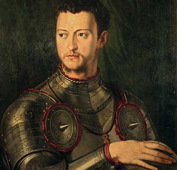 Bottega di Agnolo Bronzino, Ritratto di Cosimo I de' Medici in armatura, 1543-1545, olio su tavola, Galleria Palatina, Gallerie degli Uffizi, Firenze