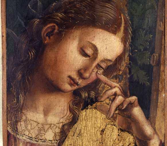 Luca Signorelli, Pia donna in pianto, 1504-1505, olio su tavola, frammento del Compianto sul Cristo, già nella Chiesa di Sant'Agostino a Matelica, (pala Matelica), olio su tavola, Bologna, Collezioni Comunali d'Arte