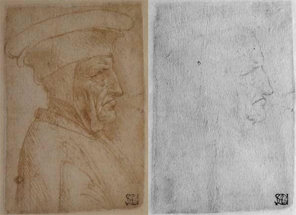 Leonardo da Vinci, Uomo di profilo con cappello, punta di piombo, penna e inchiostro, F 263 inf. n. 87, © Veneranda Biblioteca Ambrosiana / Mondadori Portfolio