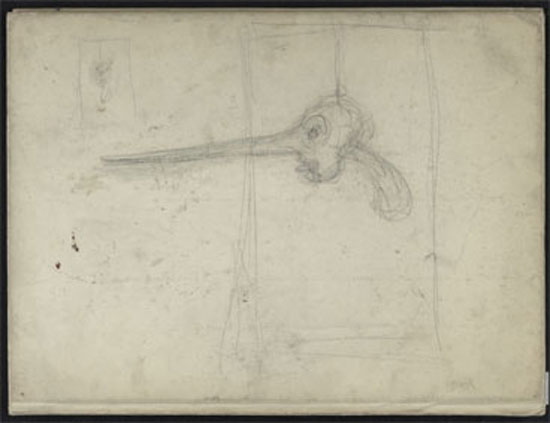 Alberto Giacometti, Le Nez dans Peintures romanes des églises de France, 1938, Matita su carta, 32,2x24,4x2 cm, Fondation Giacometti,  Paris © Alberto Giacometti Estate/ by SIAE in Italy 2019