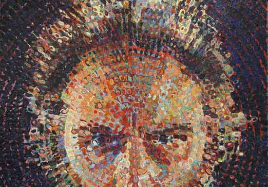 "Chuck Close, Lucas/Mosaic 2019, Glass smalti and ceramic combination, 86-5/8 x 72"" fabricated by Mosaika Art & Design. Photo courtesy of Mosaika Art and Design"