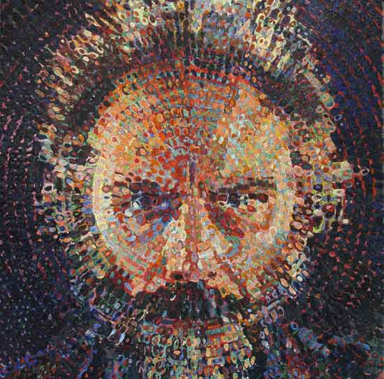 "Chuck Close, Lucas/Mosaic 2019, Glass smalti and ceramic combination, 86-5/8 x 72"" fabricated by Mosaika Art & Design. Photo courtesy of Mosaika Art and Design"
