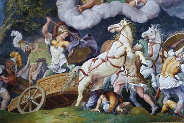 Giulio Romano e bottega, Diomede combatte Fegeo e Ideo, Mantova, Palazzo Ducale, Sala di Troia