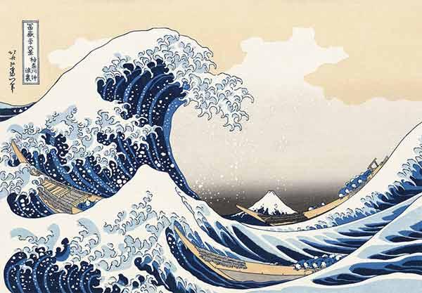 Hokusai Katsushika (1760 – 1849) La [grande] onda al largo presso la costa di Kanagawa da Le 36 Vedute del Monte Fuji XXI secolo xilografia policroma tradizionale su carta da gelso 264 x 386 mm