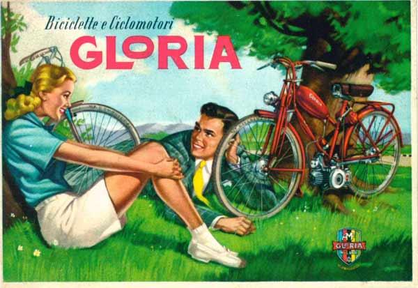 """""""Biciclette e ciclomotori Gloria"""", 1950-55, Su disegno di Franco Mosca, Ristampa di una cartolina pubblicitaria, Courtesy Comune di Modena, Museo della Figurina – Fondazione Modena Arti Visive"""