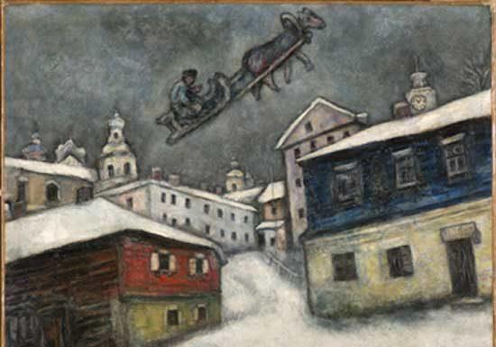 Marc Chagall, Villaggio russo, 1929, Olio su tela, 73x92 cm, Private Collection, Swiss © Chagall ® by SIAE 2019