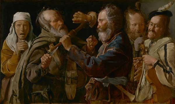 Georges de La Tour, La lotta dei musici, 1625 - 1630 ca., olio su tela, 85.7 x 141 cm, The J. Paul Getty Museum, Los Angeles, U.S.A.