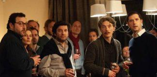 Denis Ménochet, Eric Caravaca, Swann Arlaud, Melvil Poupaud nel film Grazie a Dio - Copyright: Jean-Claude Moireau