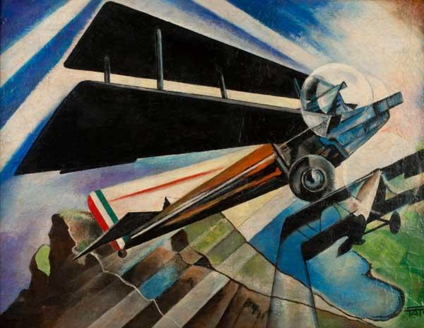 Tato, Il 6 Motori su Monti-mare, 1934, olio su tela, 54x73cm