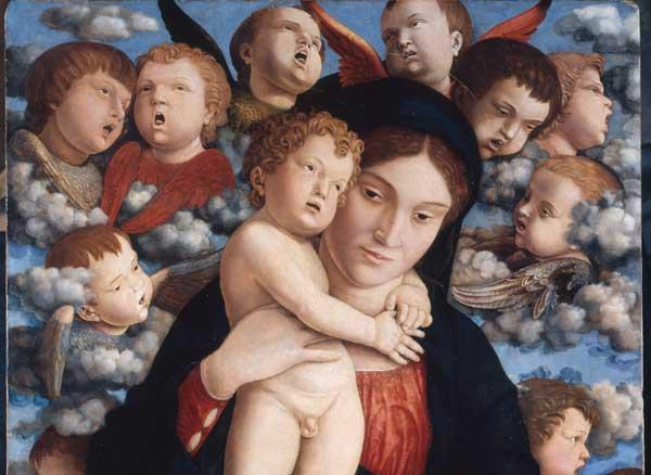 Andrea Mantegna, Madonna dei cherubini (particolare), 1485 ca, Tempera grassa (?) su tavola, cm. 88 x 70, Pinacoteca di Brera, Milano
