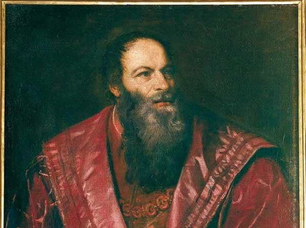 Tiziano Vecellio (Pieve di Cadore, 1488/1490 - Venezia, 1576), Ritratto di Pietro Aretino (particolare), olio su tela, 1545, Galleria Palatina, Gallerie degli Uffizi, Firenze