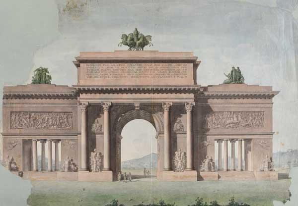 Progetto per un arco di trionfo in onore dell'imperatore Napoleone, acquerello su carta, Museo Napoleonico - Mostra Aspettando l'Imperatore