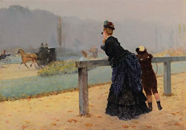 Giuseppe De Nittis: Al Bois, 1873. Olio su tela, cm 20 x 30. Courtesy Archivi Boldini-De Nittis-Zandomeneghi