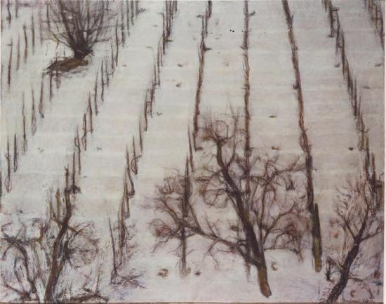 Bongiovanni Radice, La neve sul vigneto, 1966, olio e patello su tela, 73x92 cm