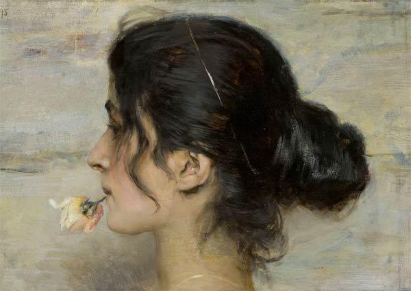 Ettore Tito, Con la rosa tra le labbra. Collezione privata - Mostra Donne nell'arte