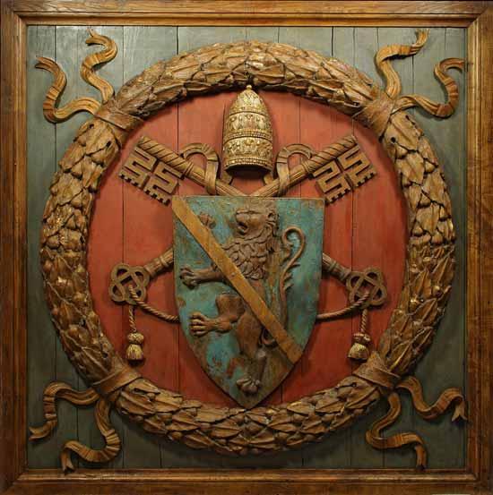 Giovannino de' Dolci, attr. (1435 circa – 1485 circa), Lacunare con stemma di papa Paolo II Barbo, 1466-1467, legno di castagno intagliato e dipinto, Museo Nazionale del Palazzo di Venezia, Roma
