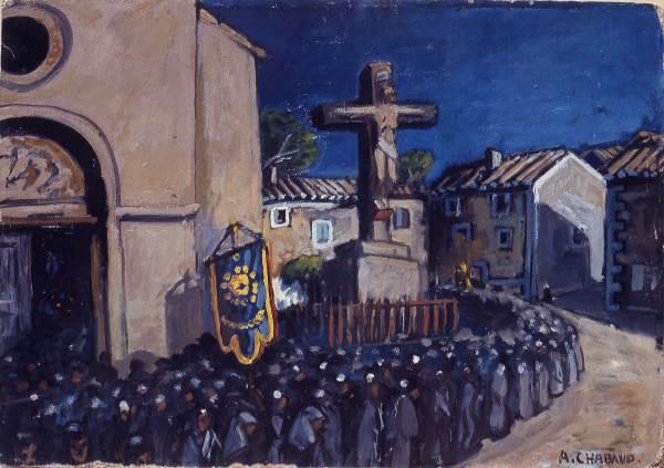 Auguste Chabaud (Nîmes 1882 – Graveson 1955), La procession. L'Enterrement sort de l'Eglise, 1920 ca., olio su cartone; © Governatorato SCV Direzione dei Musei