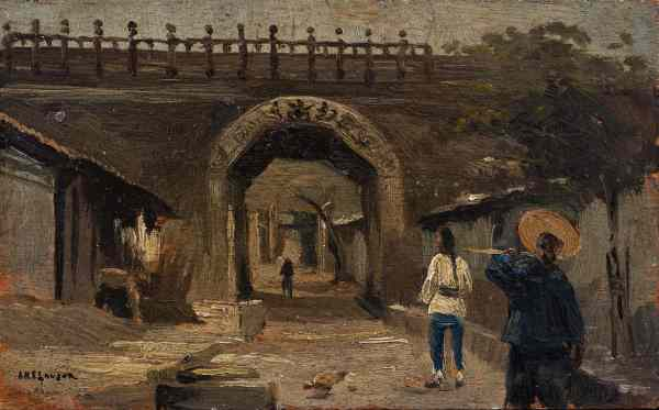 Henry Arnold Savage Landor, La Piattaforma delle Nuvole a Juyongguan nei pressi di Pechino, 1891, Olio su tavola, 10,5 x 17 cm, Collezione Fusi