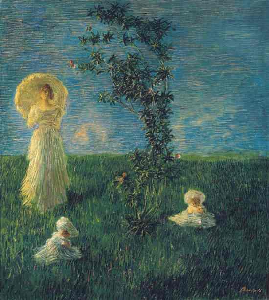 Gaetano Previati: Nel prato (Pace), 1889-90. Firenze, Gallerie degli Uffizi, Galleria d'Arte Moderna di Palazzo Pitti. Su concessione del MiBACT