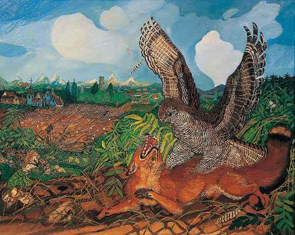 Antonio Ligabue, Volpe con rapace, 1959, olio su tela, cm 120x150