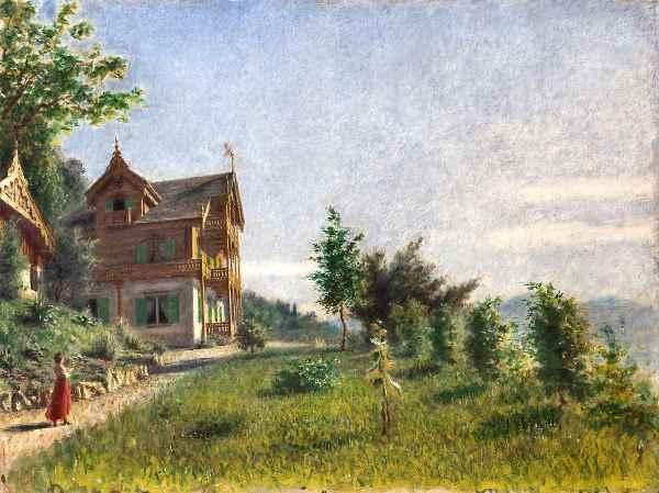 Daniele Ranzoni Lo chalet di Villa Ada Ghiffa sul Lago Maggiore olio su tela 75 x 100 cm collezione privata