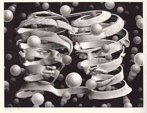 Maurits Cornelis Escher Vincolo d'unione, Aprile 1956 Litografia, 25,3x33,9 cm Olanda, Collezione Escher Foundation All M.C. Escher works © 2021 The M.C. Escher Company The Netherlands. All rights reserved www.mcescher.com